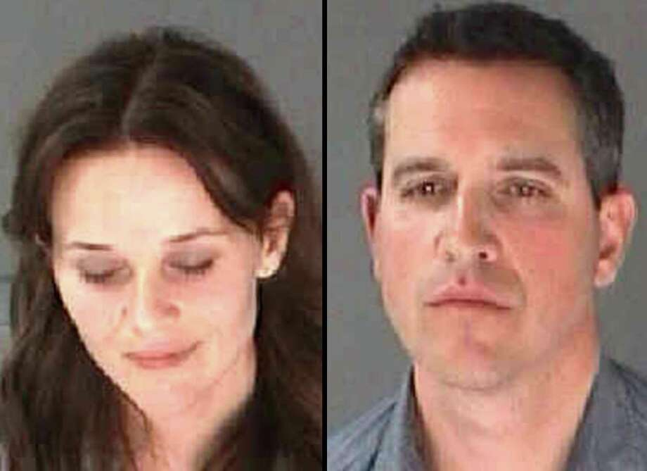 This combination of undated photo provided by the City of Atlanta Department of Corrections shows Reese Witherspoon, left, her husband James Toth. The Oscar-winning actress was arrested on a disorderly conduct charge after a state trooper said she wouldn't stay in the car while Toth was given a field sobriety test in Atlanta. (AP Photo/City of Atlanta Department of Corrections)