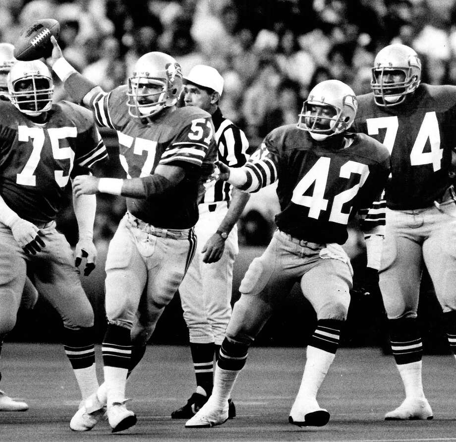 1978: Keith Simpson9th-overall pick | Position: Defensive back | College: MemphisSeen here second from right (No. 42), Simpson was a career Seahawk and played in Seattle for eight full seasons, starting 70 of his 108 games. A team captain, Simpson retired in 1985 with 19 career interceptions -- a franchise record at the time. Photo: Grant M. Haller, Seattle P-I File