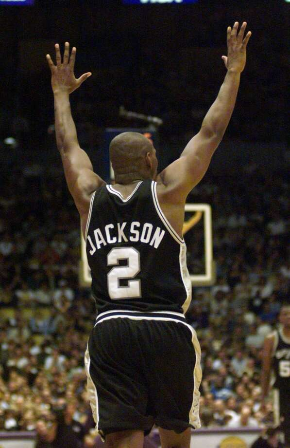 Jaren Jackson celebrates after making a 3-pointer as the Spurs closed out their 1999 playoff series against the Lakers. Jackson\'s 3-point shooting was a key part of the Spurs\' title run.