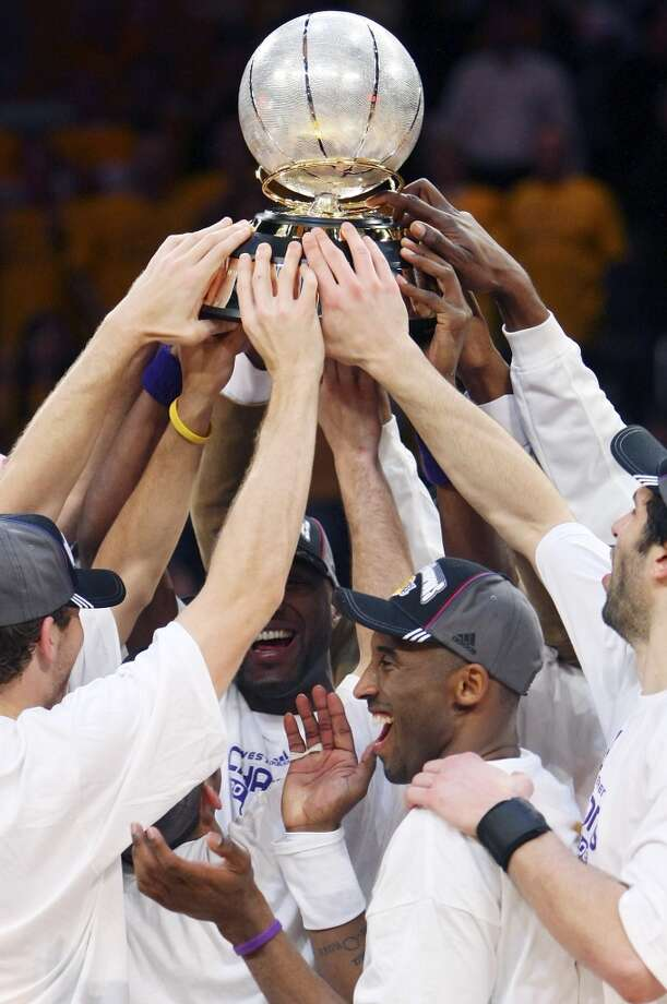 The West came down to the Spurs and Lakers again in 2008. The Spurs won only one game in the conference finals. Members of the Lakers celebrate with the trophy after defeating the Spurs 100-92 in Game 5 of the Western Conference finals Thursday May 29, 2008 at the Staples Center in Los Angeles.