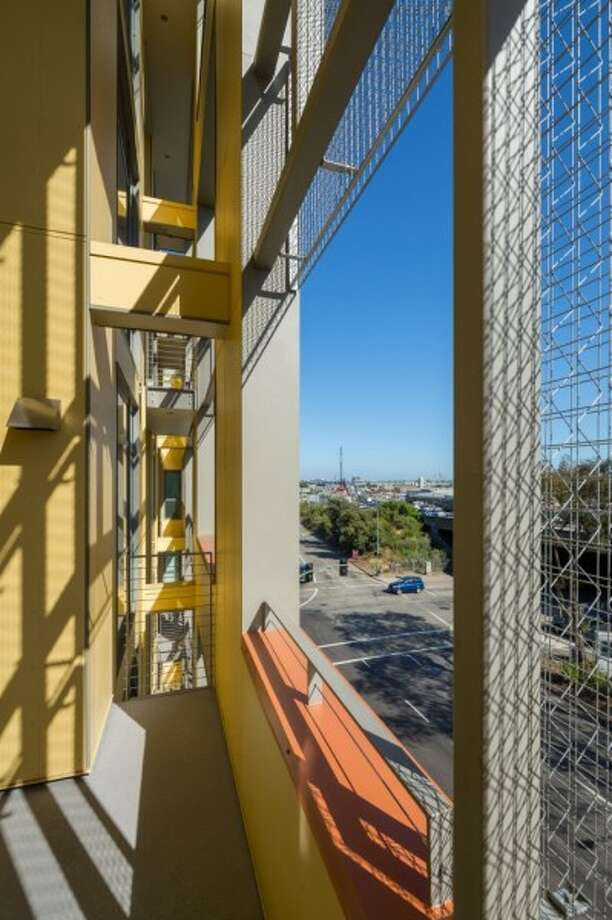 "In Oakland, the Merritt Crossing Senior Apartments designed by Leddy Maytum Stacy was praised by the jury as ""social housing that also has strong environmental goals,"" with easy-to-see details like a double wall facing east to provide shade and noise insulation and, in the process ""educate the broader community"" about the tools of green design."