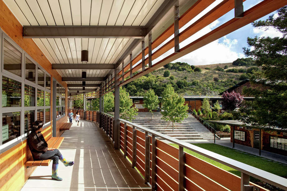 """The third local hero was the Marin Country Day School Learning Resource Center by EHDD. Beyond such sustainability touches as the re-use of concrete slabs to make new pavers, """"we just thought this would be an absolutely delightfully environment for learning,"""" the jury said."""