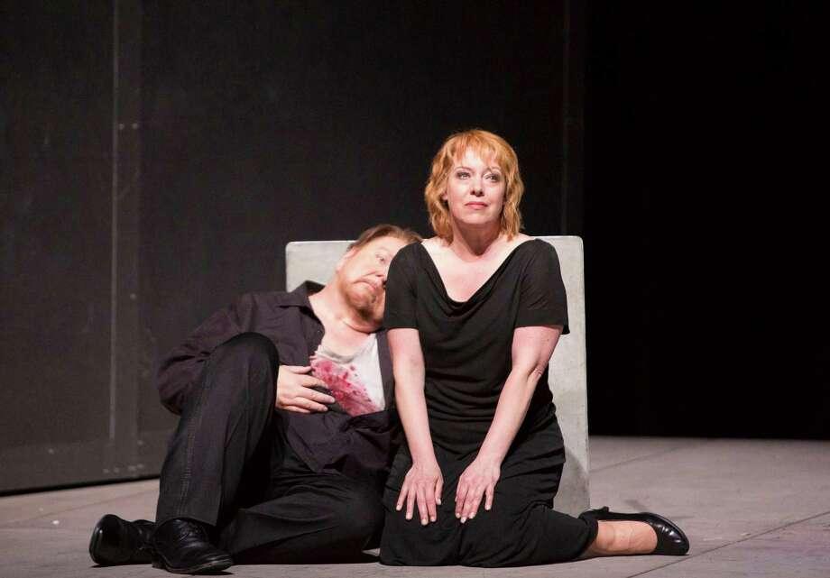 "Nina Stemme plays Isolde and Ben Heppner is Tristan in Houston Grand Opera's staging of Richard Wagner's ""Tristan and Isolde."" Photo: Felix Sanchez"