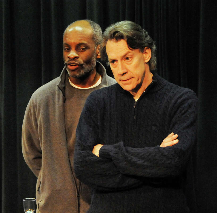 "Mark Hamilton (left) and Joseph Rinaldi rehearse a scene from ""Julius Caesar"" for the 30th anniversary show at the Theater Artists Workshop in Norwalk. Photo: Contributed Photo"