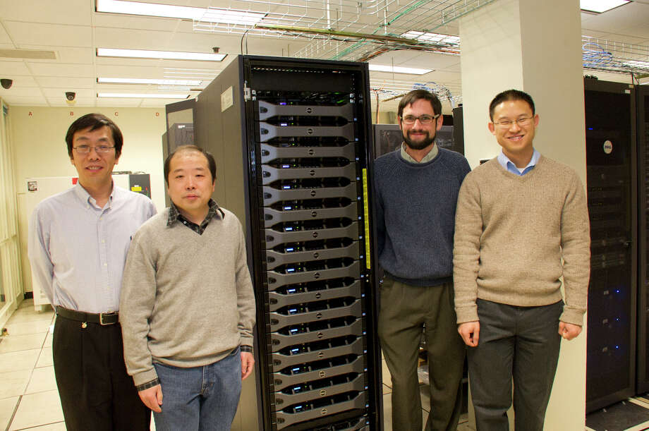 From L-to-R are Liming Zhou, Jiping Liu, Justin Minder, and Brian Tang, all faculty in the Department of Atmospheric and Environmental Sciences. (Courtesy University at Albany)