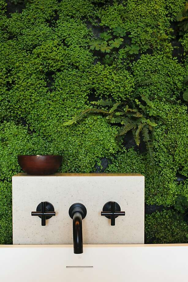 The master bathroom by Jessica Weigley and Kevin Hackett of Siol Studios features a living wall of lavender, geranium, mint and ferns. Photo: Russell Yip, The Chronicle