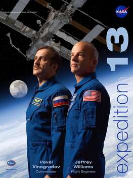 Expedition 13 - Commander Pavel Vinogradov and Flight Engineer Jeff Williams lived in space for 183 days. They began their mission in March 2006 and returned to Earth in September 2006. European Space Agency astronaut Thomas Reiter joined the crew in July 2006 returning the station to a three-person crew.