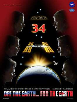 Expedition 34 - Commander Kevin Ford and Flight Engineers Oleg Novitskiy, Evgeny Tarelkin, Tom Marshburn, Chris Hadfield and Roman Romanenko served as the Expedition 34 crew aboard the International Space Station.