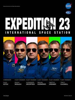 Expedition 23 - Commander Oleg Kotov and flight engineers Soichi Noguchi, Timothy J. (T.J.) Creamer, Alexander Skvortsov, Tracy Caldwell Dyson and Mikhail Kornienko served aboard the International Space Station as the Expedition 23 crew.