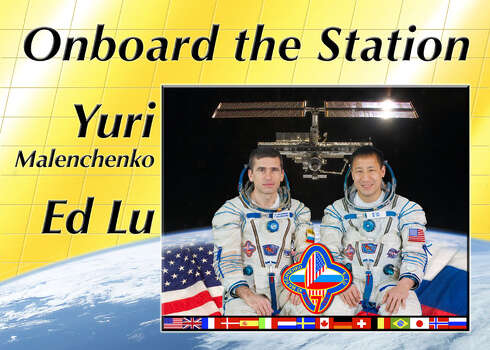 Expedition 7 - Commander Yuri Malenchenko and Flight Engineer Ed Lu journeyed to the International Space Station aboard a Soyuz rocket. They became the first two-person station crew and stayed in orbit from April 2003 until October 2003.