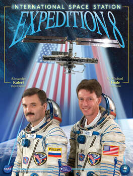 Expedition 8 - Commander Michael Foale and Flight Engineer Alexander Kaleri lived in space for 195 days. They began their mission in October 2003 and returned to Earth in April 2004.