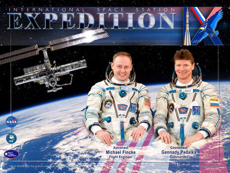Expedition 9 - Commander Gennady Padalka and Flight Engineer Mike Fincke performed four spacewalks during their mission. They stayed aboard the International Space Station from April 2004 through October 2004.
