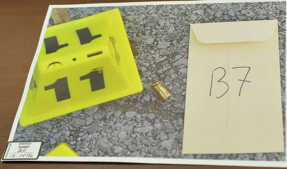 This is a crime scene photo, one of many others of all the shell casings that  were found around the courthouse, that was introduced as evidence in the trial by the prosecution. Testimony has begun today in Galveston in the relocated capital murder trial of Bartholomew Granger, who is on trial in the shooting death of Minnie Ray Sebolt, a 79-year-old Deweyville resident who was gunned down March 14, 2012, at the Jefferson County Courthouse. According to his indictment, Granger was trying to shoot a witness in an aggravated sexual assault trial in which he was the defendant and accidentally hit Sebolt. The crime is capital murder because Sebolt was killed in the commission of another crime, retaliation against a witness, according to the prosecution.    Dave Ryan/The Enterprise Photo: Dave Ryan