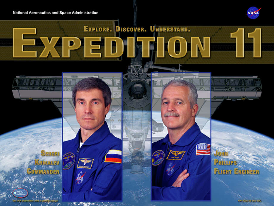 Expedition 11 - Commander Sergei Krikalev and Flight Engineer John Phillips lived and worked aboard the International Space Station from April 2005 through October 2005. Krikalev had served on the station previously as part of the Expedition 1 crew, and Phillips visited the station as part of the STS-100 crew.