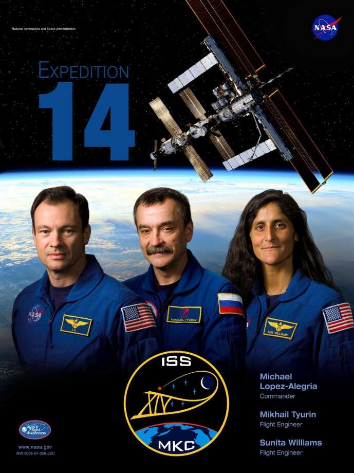 Expedition 14 - Commander Michael Lopez-Alegria and Flight Engineer Mikhail Tyurin began their Expedition in September 2006. European Space Agency astronaut Thomas Reiter remained with Expedition 14 after Expedition 13 departed from the station. Flight Engineer Sunita Williams replaced Reiter when Space Shuttle Discovery dropped her off on mission STS-116.