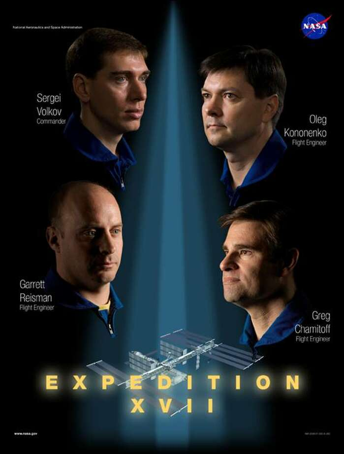 Expedition 17 - Commander Sergei Volkov, Flight Engineer Oleg Kononenko and spaceflight participant So-yeon Yi launched to the station on April 8, 2008. Garrett E. Reisman and Gregory E. Chamitoff served as flight engineers during Expedition 17.