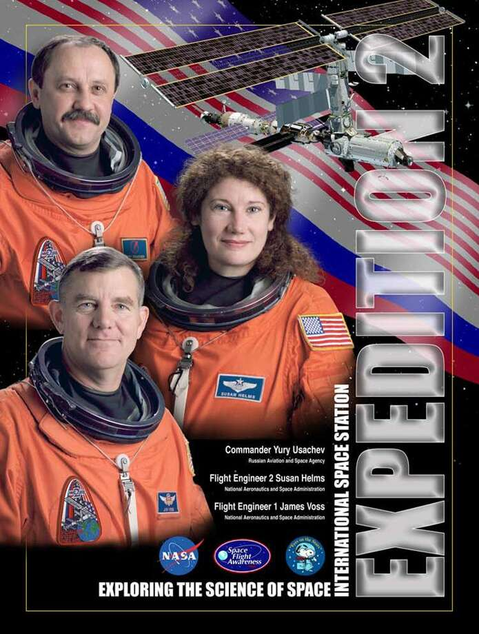 Expedition 2 -  Commander Yury Usachev and Flight Engineers James Voss and Susan Helms occupied the International Space Station for 148 days. They began their mission in March 2001 and returned to Earth in August 2001.