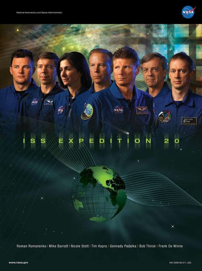 Expedition 20 - Commander Gennady Padalka and flight engineers Michael Barratt, Koichi Wakata, Tim Kopra, Roman Romanenko, Frank De Winne, Robert Thirsk and Nicole P. Stott served aboard the International Space Station as the Expedition 20 crew.