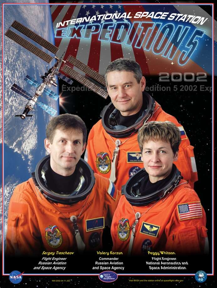 Expedition 5 - Commander Valery Korzun and Flight Engineers Peggy Whitson and Sergei Treschev resided aboard the International Space Station from June 2002 through December 2002. Whitson became the first NASA Space Station Science Officer.