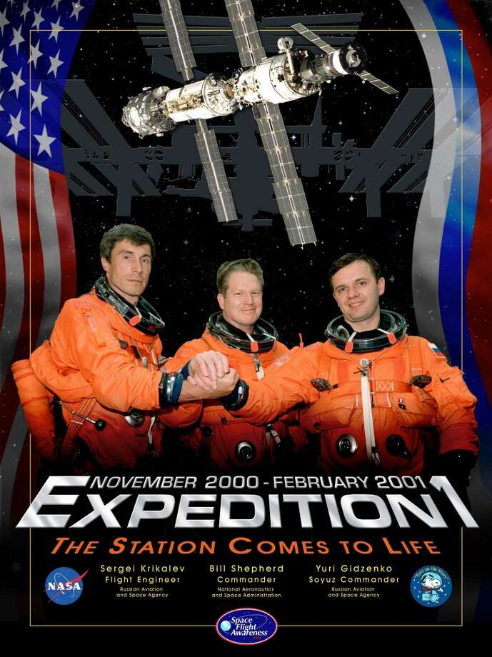 Expedition 1 -  Commander William Shepherd and Flight Engineers Yuri Gidzenko and Sergei Krikalev were the first residents of the International Space Station. Their mission lasted from October 2000 to March 2001.