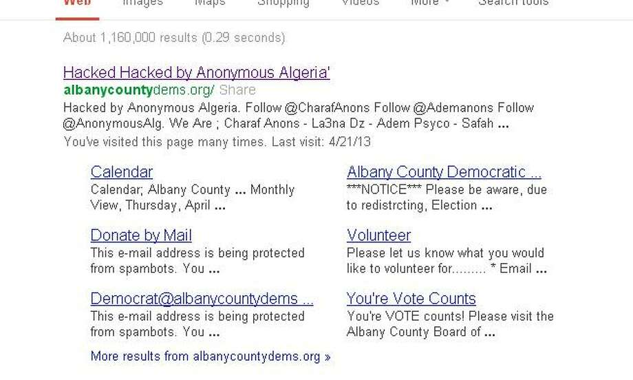 A screen grab of the Google search results for the Albany County Democratic Committee's website, which was offline Monday, April 22, 2013, after apparently having been targeted by the overseas hacker group Anonymous Algeria.