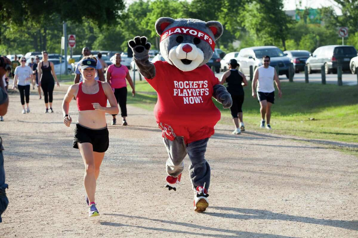 Rockets mascot Clutch (Robert Boudwin) is trying to inspire the team during its playoff run with a run of his own. Clutch the Rockets Bear will be running a 5K every day of the first round series to live up to the team motto
