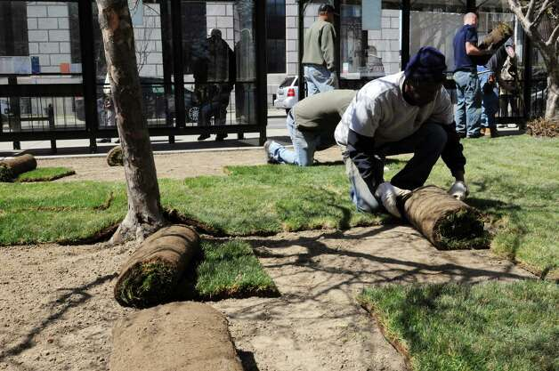 Workers from OGS put down new turf in West Capitol Park Monday afternoon, April 22, 2013,  in Albany, N.Y. The lawn was in disrepair following a rally to oppose to the NY SAFE act, which was held after heavy precipitation had saturated the park. (Will Waldron/Times Union) Photo: Will Waldron