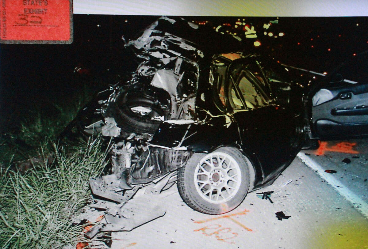 This photo is a state's exhibit in Christopher Hughes Lamar's murder trial. It shows the car Lamar hit when driving drunk, killing a mother and her daughter.