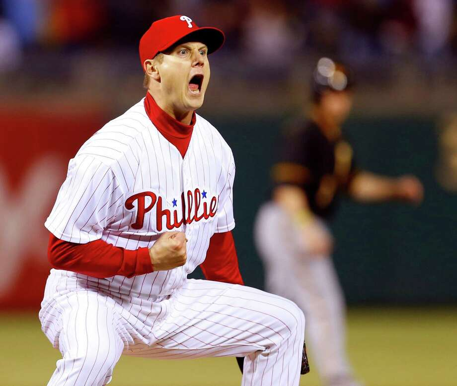 PHILADELPHIA, PA - APRIL 22: Jonathan Papelbon #58 of the Philadelphia Phillies reacts after getting Pedro Alvarez #24 of the Pittsburgh Pirates to strike out to end the game as the Phillies defeated the Pirates 3-2 with Papelbon getting the save on April 22, 2013 at Citizens Bank Park in Philadelphia, Pennsylvania. (Photo by Rich Schultz/Getty Images) Photo: Rich Schultz