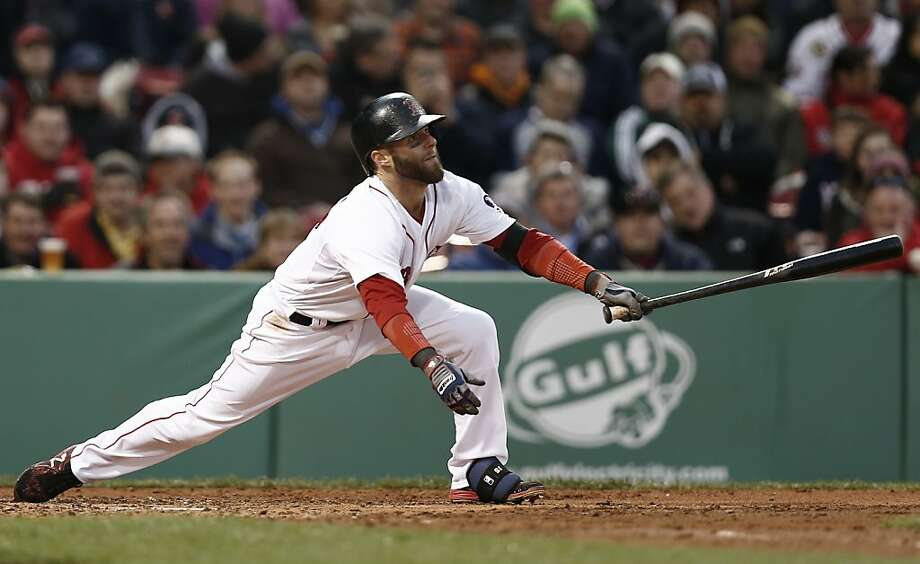 Boston Red Sox's Dustin Pedroia follows through during the fourth inning of a baseball game against the Oakland Athletics at Fenway Park in Boston Monday, April 22, 2013. (AP Photo/Winslow Townson) Photo: Winslow Townson, Associated Press