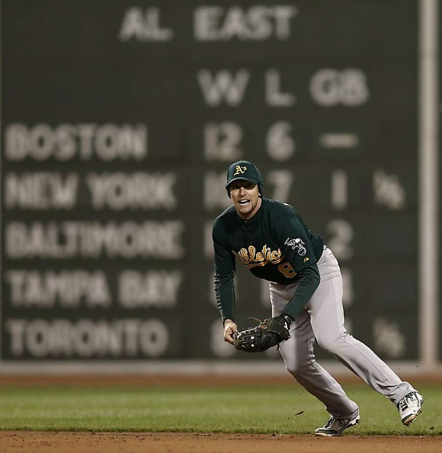 Oakland Athletics shortstop Jed Lowrie looks down to first after fielding a ground ball against the Boston Red Sox during the eighth inning of a baseball game at Fenway Park in Boston Monday, April 22, 2013. (AP Photo/Winslow Townson) Photo: Winslow Townson, Associated Press