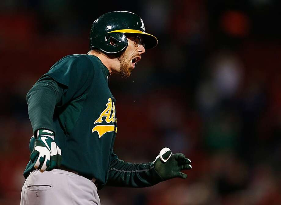 BOSTON, MA - APRIL 22:  Eric Sogard #28 of the Oakland Athletics reacts after hitting the ball deep to right field with two men on base for an out against the Boston Red Sox at Fenway Park on April 22, 2013 in Boston, Massachusetts.  (Photo by Jim Rogash/Getty Images) Photo: Jim Rogash, Getty Images