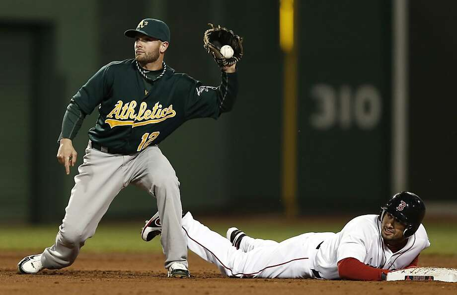 Boston Red Sox's Shane Victorino gets back to second base safely after an error on a fielders choice by Oakland Athletics second baseman Andy Parrino, holding the ball, during the fifth inning of a baseball game at Fenway Park in Boston on Monday, April 22, 2013. (AP Photo/Winslow Townson) Photo: Winslow Townson, Associated Press