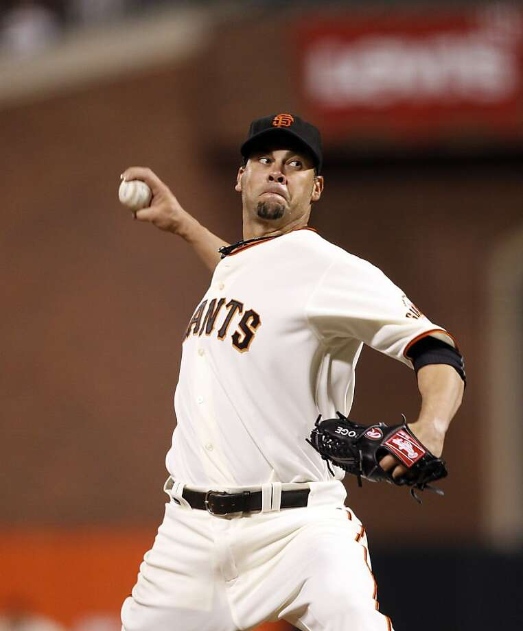 Ryan Vogelsong started the game for the Giants but did not get a decision. The San Francisco Giants played the Arizona Diamondbacks at AT&T Park in San Francisco, Calif., on Monday, April 22, 2013, winning 5-4 on a walk-off hit by Brandon Belt. Photo: Carlos Avila Gonzalez, The Chronicle