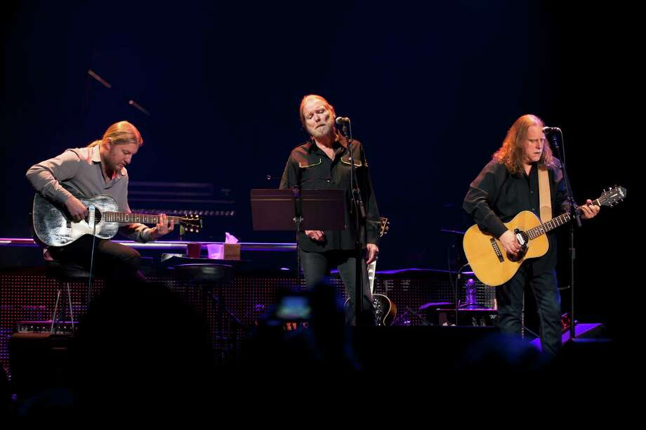 From left: Derek Trucks, Gregg Allman and Warren Haynes performing during Eric Clapton's Crossroads Guitar Festival at Madison Square Garden in New York, April 13. (Karsten Moran/The New York Times) Photo: KARSTEN MORAN / John Karsten Moran