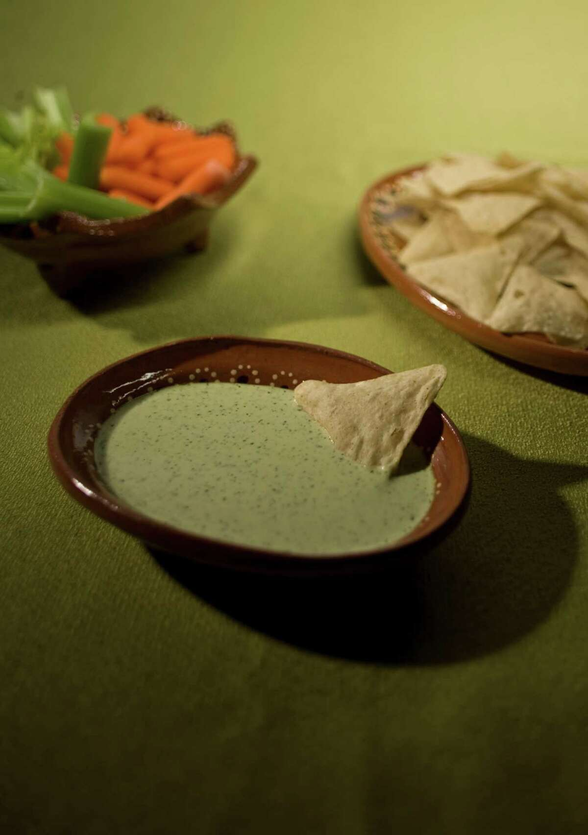 Chuy's creamy jalapeno dip is just the right combination of hot and cool.