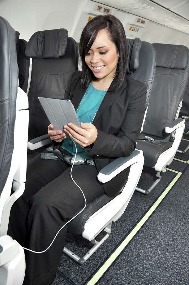 Here's a shot of the new Recaro seat that Alaska Airlines plans to install on its aircraft. Photo: Alaska Airlines