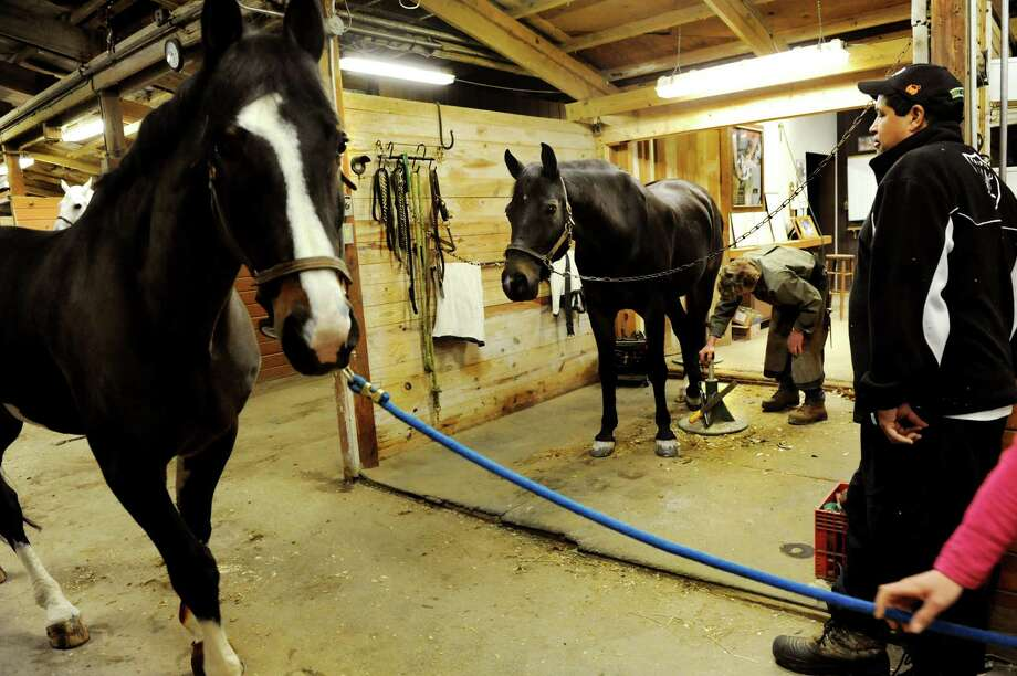 Farrier Jim Santore, center, works to shoe Leroy as stable hand Ed Thomas, right, watches for a moment on Tuesday, April 9, 2013, at Van Lennep Riding Center in Saratoga Springs , N.Y. (Cindy Schultz / Times Union) Photo: Cindy Schultz, Albany Times Union / 10021904A