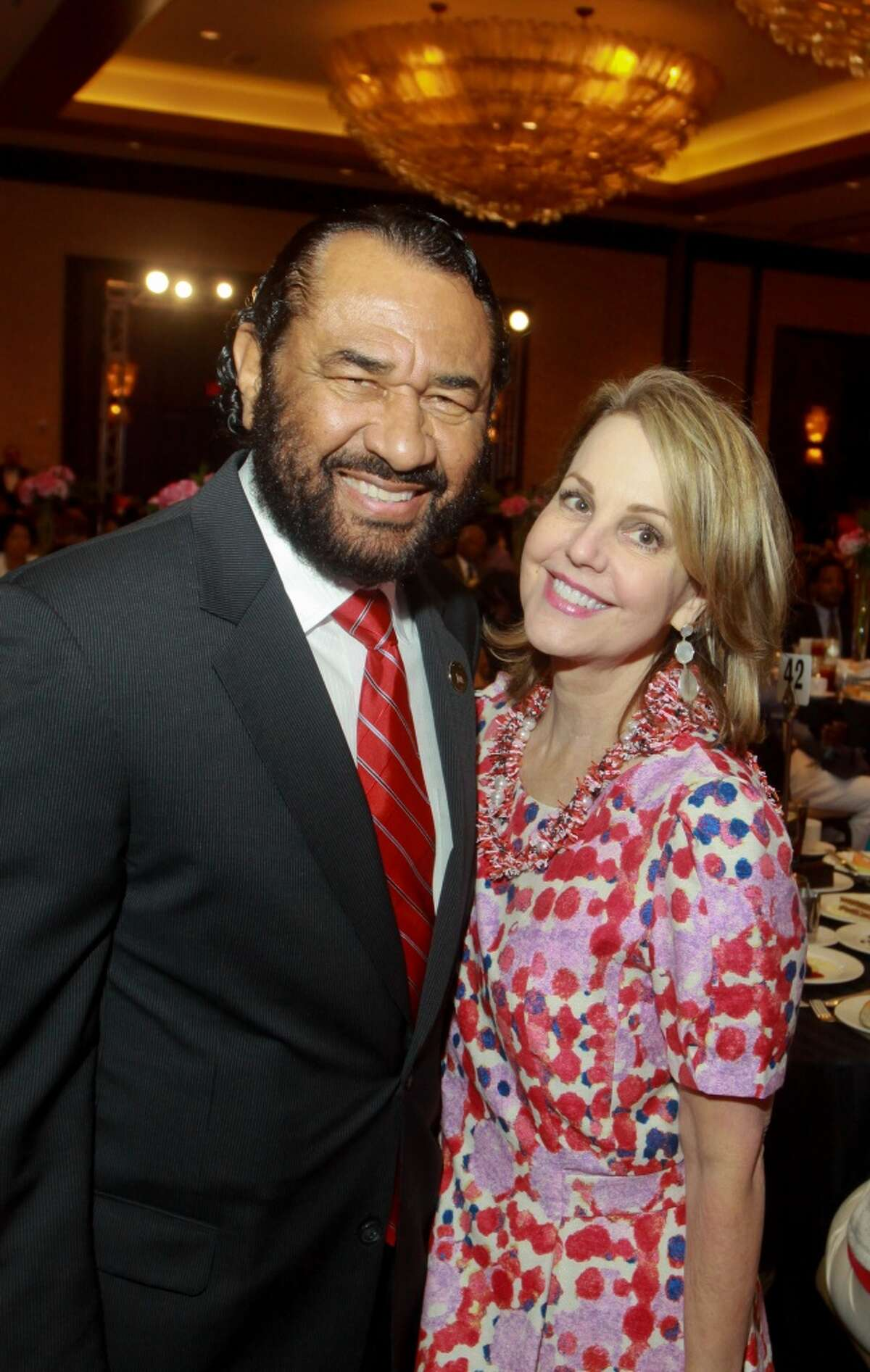 Carrin Patman, shown here in 2013 with Congressman Al Green, D-Houston, became Metro's first chairwoman in April.
