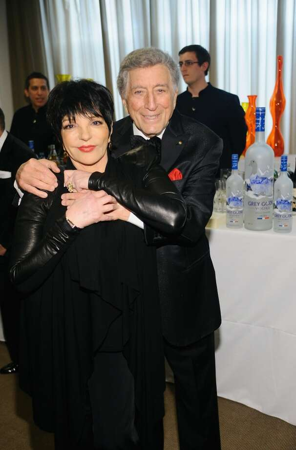 NEW YORK, NY - APRIL 22:  Liza Minnelli and Tony Bennett pose together at the Grey Goose cocktail reception of The Film Society of Lincoln Center\'s 40th Chaplin Award Gala at Avery Fisher Hall, Lincoln Center on April 22, 2013 in New York City.  (Photo by Stefanie Keenan/Getty Images for GREY GOOSE)