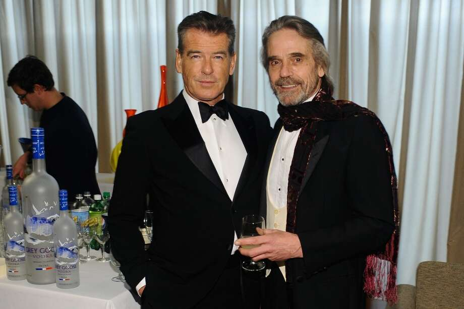 NEW YORK, NY - APRIL 22:  Actors Pierce Brosnan and Jeremy Irons attend the Grey Goose cocktail reception of The Film Society of Lincoln Center\'s 40th Chaplin Award Gala at Avery Fisher Hall, Lincoln Center on April 22, 2013 in New York City.  (Photo by Stefanie Keenan/Getty Images for GREY GOOSE)