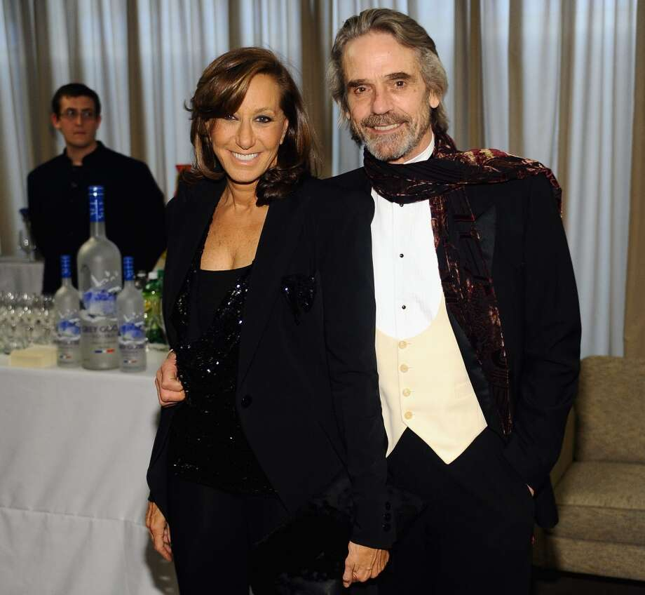 NEW YORK, NY - APRIL 22:  Designer Donna Karan and Jeremy Irons attend the Grey Goose cocktail reception of The Film Society of Lincoln Center\'s 40th Chaplin Award Gala at Avery Fisher Hall, Lincoln Center on April 22, 2013 in New York City.  (Photo by Stefanie Keenan/Getty Images for GREY GOOSE)