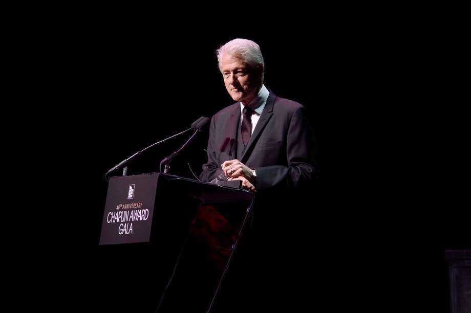 Former President of the United States Bill Clinton speaks at the 40th Anniversary Chaplin Award Gala at Avery Fisher Hall at Lincoln Center for the Performing Arts on April 22, 2013 in New York City.  (Photo by Michael Loccisano/Getty Images)