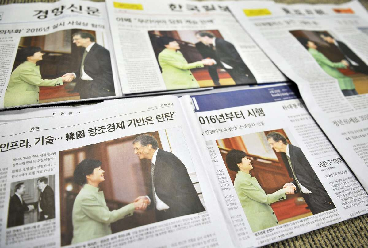 The handshake was the talk of South Korea on Tuesday, (JUNG YEON-JE/AFP/Getty Images)