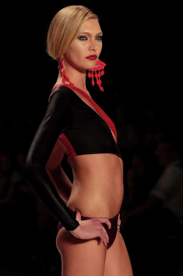 A model, wears a design of Triya at Fashion Rio. Photo: Getty