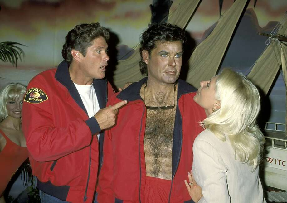 "David Hasselhoff and Pamela Bach during ""Baywatch"" Cast Wax Figure Unveiling Ceremony - July 26, 1995 at Hollywood Wax Museum in Hollywood, California, United States. (Photo by Ron Galella/WireImage) Photo: Ron Galella"