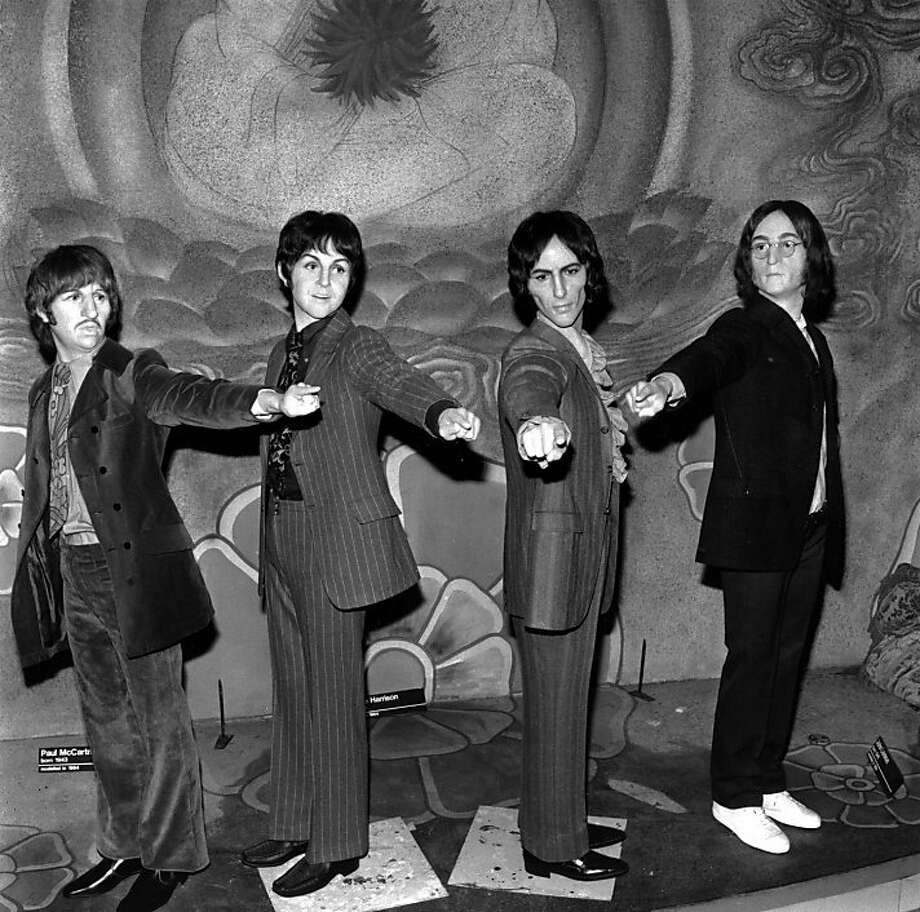 4th October 1968:  The new figures of pop group The Beatles at Madame Tussaud's wax museum in London. Effigies of the group have been on display at Tussaud's since 1964 and have had six changes of clothes due to their many fashion changes, these new figures have been sculpted by James Butler, ARA.  (Photo by Jim Gray/Keystone/Getty Images) Photo: Jim Gray