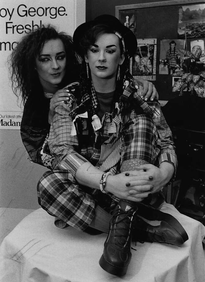 circa 1984:  English pop singer Boy George posing with his likeness at Madame Tussaud's waxworks museum.  (Photo by Express/Express/Getty Images) Photo: Express