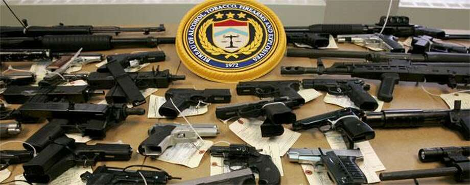 Seized weapons on display. (AP photo)