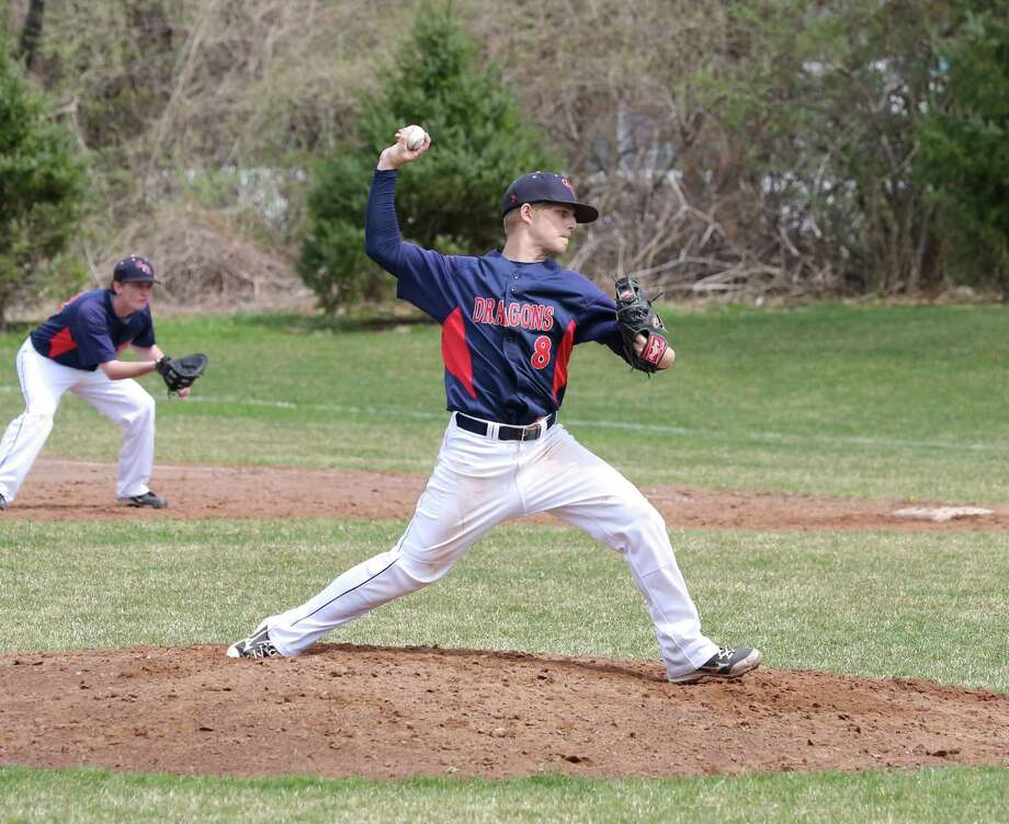 Greens Farms Academy senior Brian Dexheimer pitched in relief in the Dragons baseball team's 5-4 win over Harvey on April 20. Photo: Contributed Photo